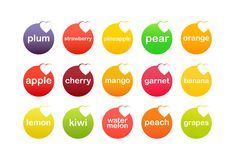 Set of Fruit Icons Stock Images