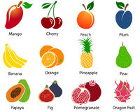 Set of Fruit Icons With Title Royalty Free Stock Images