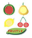Set of fruit icons 2. Vector set of juicy fruit icons. You can put text or symbol what you want Stock Photo