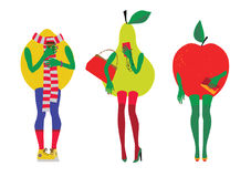 Set of fruit in the image of beautiful modern women. Royalty Free Stock Photography