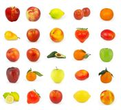 Set of fruit isolated on white Royalty Free Stock Photos