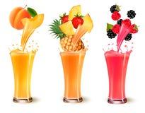 Set of fruit juice splash in a glass. Royalty Free Stock Image