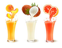 Set of fruit juice splash in a glass. Peach, coconut and grapefruit. Vector Royalty Free Stock Photo