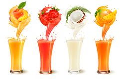 Set of fruit juice splash in a glass. Strawberry, peach, coconut. And mango. Vector royalty free illustration