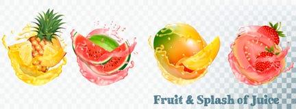 Set of fruit juice splash . Stock Photo