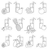 Set of fruit juices cartoon. Page to be colored. Royalty Free Stock Photography