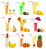 Of a set of fruit juices from pineapple, plum, ban Stock Photo