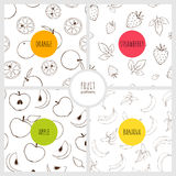 Set of fruit patterns Royalty Free Stock Image