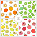Set of fruit patterns. Set of seamless pattern with ornage, lime, lemon and greipfruit Royalty Free Stock Photography