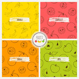 Set of fruit patterns. Vector seamless patterns with banans, oranges and apples Stock Photography