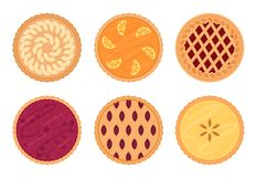 Set of fruit pies. Isolated on white background. royalty free illustration