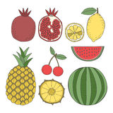 Set of fruit, pineapple, lemon, cherry, pomegranate, watermelon Royalty Free Stock Photos
