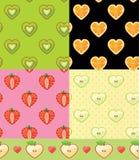 Set of Fruit seamless pattern.Kiwi,orange,strawberry,Apple. Kiwi,orange,strawberry,Apple in halves heart shaped. Various  Fruit seamless pattern set. Cartoon Stock Image