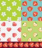 Set of Fruit seamless pattern.Strawberry,Apple,hearts,flowers. Hearts,flowers,strawberry,Apple in halves heart shaped. Various  seamless pattern set. cartoon Royalty Free Stock Images