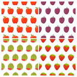 Set of fruit seamless patterns. Healthy food backgrounds  Royalty Free Stock Images