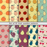 Set fruit seamless patterns. Set of seamless fruit pattern 10 seamless patterns,  vector illustration, abstract background Stock Photography