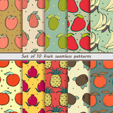 Set fruit seamless patterns. Set of seamless fruit pattern 10 seamless patterns, exotic fruits,  Set of abstract background Royalty Free Stock Photos