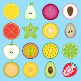 Set fruit sliced in half Royalty Free Stock Image