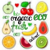 Set fruit stickers: apple, cherry, lemon, pear, banana, mango. Stock Photography