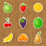 Set of fruit stickers Stock Photo