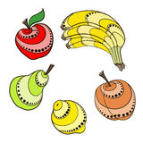 Set Fruit. Vector fruits  in simplified style Royalty Free Stock Images