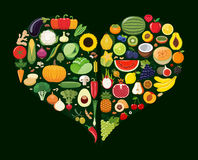 Set of fruit and vegetable icons forming heart shape. Stock Photos