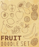 Set. Fruit and vegetables doodle set. Background texture aged paper. Set can be used for your business a cafe, a restaurant, a health food store. Set of elements Stock Photography