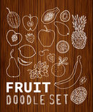 Set. Fruit and vegetables doodle set. Background texture of wood. Set can be used for your business a cafe, a restaurant, a health food store. Set of elements 36 Royalty Free Stock Images