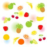 Set of fruits. Set of fruit with color blurs Royalty Free Stock Images