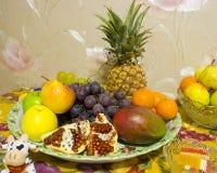 Set of fruits. Set of pineapple, grapes, apples, mango and garnet royalty free stock image