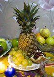 Set of fruits. Set of pineapple, grapes and garnet Royalty Free Stock Photography
