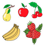 Set of fruits: apple, pear, banana, cherry, strawberry. Vector isolated image. Stock Images