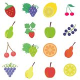 Set with fruits and berries Royalty Free Stock Photo
