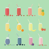 Set of fruits and berries cocktails Royalty Free Stock Photography