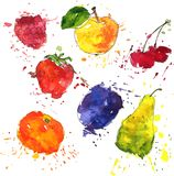 Set of fruits and berries drawing by watercolor