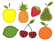 Set of fruits and berries. In the form of applique Royalty Free Stock Photography