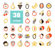 Set of Fruits and Berries icons Stock Images