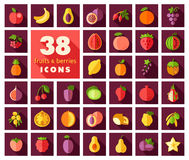 Set of Fruits and Berries icons Stock Image