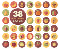Set of Fruits and Berries icons Royalty Free Stock Image