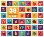 Set of Fruits and Berries icons Stock Photos