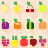 Set of fruits and berries with leaves. Flat style icons Royalty Free Stock Photography