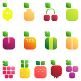 Set of fruits and berries with leaves. Shiny style icons Royalty Free Stock Image