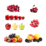 Set of fruits and berries photography. Cranberries cherry strawberries blueberry apple grape apricot blackberry on white Royalty Free Stock Photos