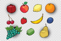 Set of fruits and berries Stock Images