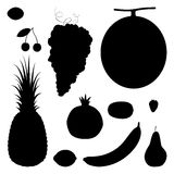Set of 11 fruits and berries silhouettes Royalty Free Stock Photos