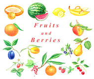 Set of fruits and berries Royalty Free Stock Images