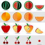 Set fruits and berries on a white background. Set fruits and berries. Watermelon, orange, apple, cherry on a white background Royalty Free Stock Photo