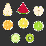 Set of fruits. Big group of fruits vector icons set Stock Photography