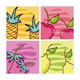 Set of fruits cards stock illustration