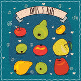 Set of fruits clip art such as apples and pears Royalty Free Stock Photography